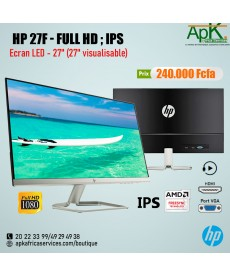 "HP 27"" LED - 27f -1920 x 1080 pixels - 5 ms (gris à gris)"