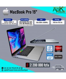 MacBook pro 15- Intel core I9 - 16Go RAM DDR4- 512Go SSD - AMD Radeon Pro 560X INTEL UHD Graphics 630 4Go GDDR5