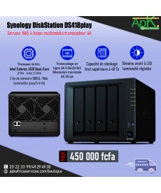Synology DiskStation DS418 Play-Intel Celeron J335(2Go  DDR3L- 1866- Stockage SUP 40To