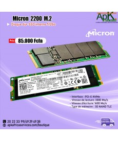 Micron 2200 Disque SSD M.2 512 Go PCI Express 3.0 3D TLC NVMe - Disques SSD (512 Go, M.2, 3000 Mo/s)