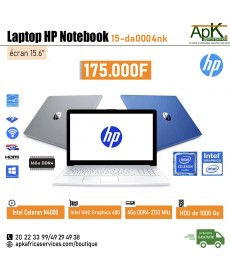 Laptop HP Notebook 15-da0004nk -Intel Celeron N4000- 4Go de RAM DDR4-1000Go HDD - Intel UHD Graphics 600-Win10