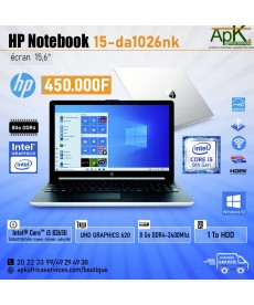 HP Notebook 15-da1026nk-Core I5- 8 Go de RAM DDR4-1To HDD - UHD Graphics 620-Win10