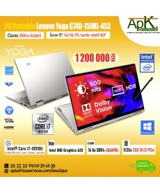 "Lenovo YOGA C740-15IML-453-Intel Core i7 10510U- RAM 16 Go DDR4-SSD(M.2) 512 Go-UHD Graphics 620-15""Full HD Rotatif 360-Win10"