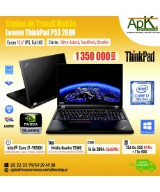 Station de travail Lenovo Thinkpad P53 20QN-Core I7 9850H-16Go de RAM DDR4-256Go SSD+1To HDD-Nvidia Quadro T2000 4Go-Win10