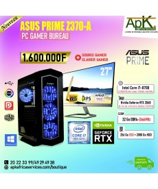 ASUS PRIME Z370 A -Intel Core i7 8700-32 Go RAM DDR4- 256Goo SSD + 2000Go HDD - NVIDIA GeForce RTX 2060T 6Go GDDR6-Win10