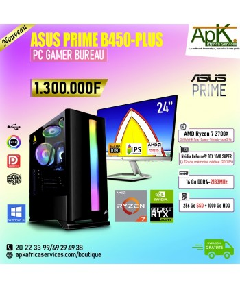 ASUS PRIME B450-PLUS -AMD Ryzen 7 3700X- 16 Go RAM DDR4- 256Goo SSD + 1000Go HDD - NVIDIA GeForce GTX 1060T 6Go GDDR6-Win10