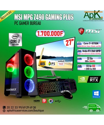 MSI MPG Z490 GAMING PLUS-Core I7 10700K-32Go DDR4- 512 Go SSD + 2To HDD-NVIDIA RTX 2060 SUPER 8Go- souris+Clavier Gamer.