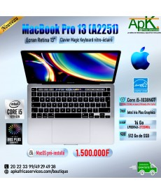 MacBook pro 13 A2251- Intel core I5 - 16Go RAM LPDDR4X- 512Go SSD - INTEL Iris Plus Graphics