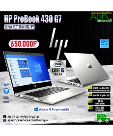 HP Probook 430 G7-Core I5 10210U- 16 Go de RAM DDR4- 512Go SSD - Intel UHD Graphics 620-Win10 Pro Préinstallé