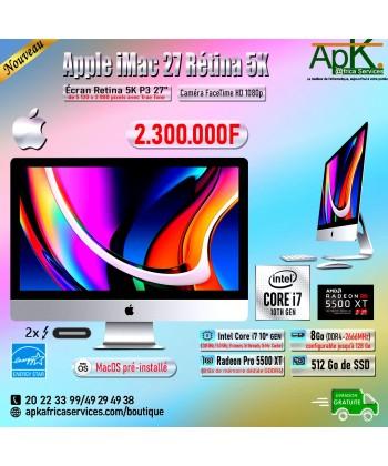 "Apple iMac Pro 27"" Retina 5K P3- Intel Core I7- 8 Go RAM  DDR4-512 Go SDD-Radeon Pro 5500 XT"