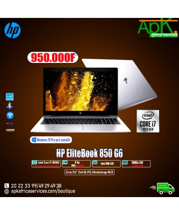"HP EliteBook 850 G6 -Intel Core i7-10510U-8 Go RAM DDR4-SSD (M.2) PCIe 1000 Go-15.6"" LED Full HD  Win10"