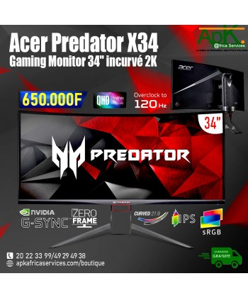 """Acer Predator X34P- Ecran Gamer 2K 34"""" LED"""