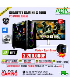 GIGABYTE GAMING X Z490 - Core I7-10700K-32Go RAM DDR4- 1To SSD+ 2To HDD- Nvidia RTX 2060 SUPER 8Go GDDR6- ECRAN 4K 27'