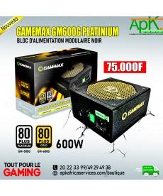 GameMax GM600G Alimentation Modulaire 80 Plus Platinium 600W  Noir