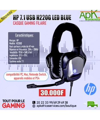 HP 7.1 USB H220G LED BLUE- Casque Filaire Gaming