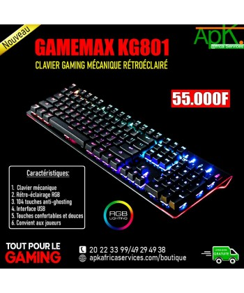 GAMEMAX KG801-CLAVIER GAMING MECANIQUE RETROECLAIRE
