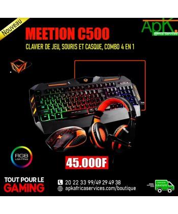 MEETION C500- Clavier de jeu, souris et casque, combo 4 en 1