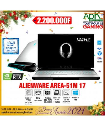 """ALIENWARE AREA-51M-Intel Core i7-9700-RAM 16 Go-SSD 256 Go + HDD 1 To-17.3"""" LCD IPS-NVIDIA GeForce RTX 2070 8 Go- Win10 Pro"""