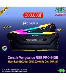 CORSAIR VENGEANCE RGB PRO- Barrette RAM DDR4- 64 Go (2x32) Haut de Gamme-3200MHz, C16, XMP 2.0) Eclairage LED RGB Dynamique
