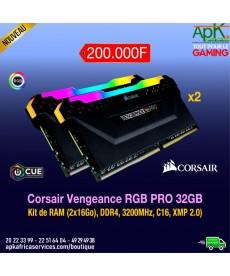 CORSAIR VENGEANCE RGB PRO- Barrette RAM DDR4- 32 Go (2x16) Haut de Gamme-3200MHz, C16, XMP 2.0) Eclairage LED RGB Dynamique