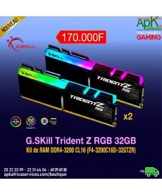 G.Skill Trident Z RGB 32 Go (2x 16 Go) DDR4 3200 MHz CL16-RAM DDR4 PC4-25600 - F4-3200C16D-32GTZRX avec LED RGB
