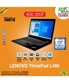 LENOVO THINKPAD L490-Core I5 8265U- 8 Go de RAM DDR4-256 Go SSD - Intel UHD Graphics 620-Ecran 14- Win10 Pro