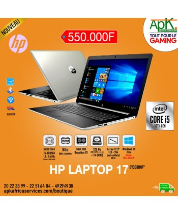 HP Laptop 17-Core I5 1035G1- 8 Go de RAM DDR4-128 Go SSD+1To HDD-Intel UHD Graphics-Win10 Pro- Clavier retro éclairé