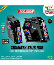 Xigmatek Zeus Boîtier Moyen ATX en verre trempé- 5 Ventilateurs-RGB