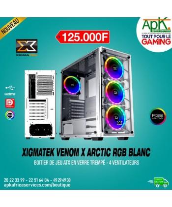 Xigmatek Venom X Artic - Boîtier ATX en verre trempé RGB - 4 Ventilateurs