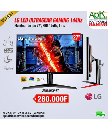 "LG 27"" LED - UltraGear - Dalle IPS - FreeSync Premium / Compatible G-SYNC - 144 Hz - HDR10 - HDMI/DisplayPort"