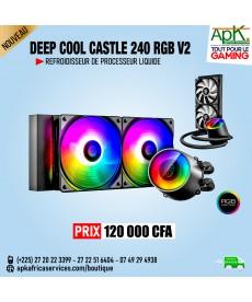 Deepcool Castle 240EX Blanc ARGB - Kit de Refroidissement liquide 240 mm Blanc tout-en-un pour processeur avec éclairage RGB