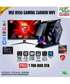 MSI B550 GAMING CARBON - Ryzen 5 3600X - 32 Go Ram DDR4 - 512 Go SSD+ 2To HDD -6Go MSI Radeon RX R600XT GDDR6 - Ecran 27''