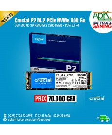 Crucial P2 M.2 PCIe NVMe 500 Go SSD 500 Go 3D NAND M.2 2280 NVMe - PCIe 3.0 x4