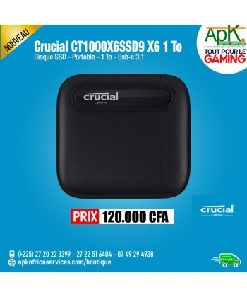 Crucial X6 Portable 1 To Disque SSD externe USB-C 3.1 ultra-portable