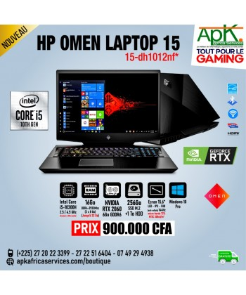 "HP OMEN LAPTOP 15-Intel Core i7-10300H-16 Go DDR4- 256 SSD-NVIDIA RTX 2060 de 6Go -Ecran 15.6"" Full HD- Win10"