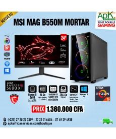 MSI MAG B550M MORTAR - RYZEN 5 3600 - 16Go RAM -256 Go SSD - RADEON RX 5600XT XFX 6Go GDDR6 de 6Go - Ecran 24'' incurvé - Win10