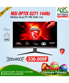 "MSI 27"" LED - Optix G271 1920 x 1080 pixels - 1 ms - 16/9 - Dalle IPS - 144 Hz - Freesync - DisplayPort/HDMI - Noir"
