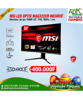 "MSI 31.5"" LED - Optix MAG322CR 1920 x 1080 pixels - 1 ms (MPRT) - Format 16/9 - Dalle VA incurvée - 180 Hz - RGB - FreeSync"