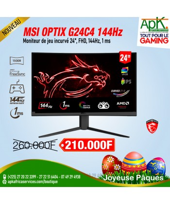 "MSI 24"" LED - Optix MAG241C 1920 X 1080 PIXELS - 1 MS (GRIS À GRIS) - FORMAT LARGE 16/9 - DALLE VA - HUB USB 2.0"